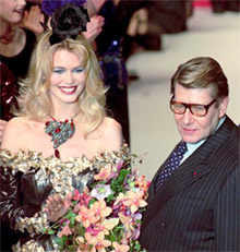 Yves Saint Laurent with model Claudia Schiffer