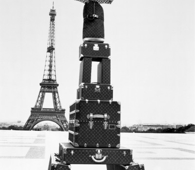 An LV luggage tower; Photo courtesy of Louis Vuitton