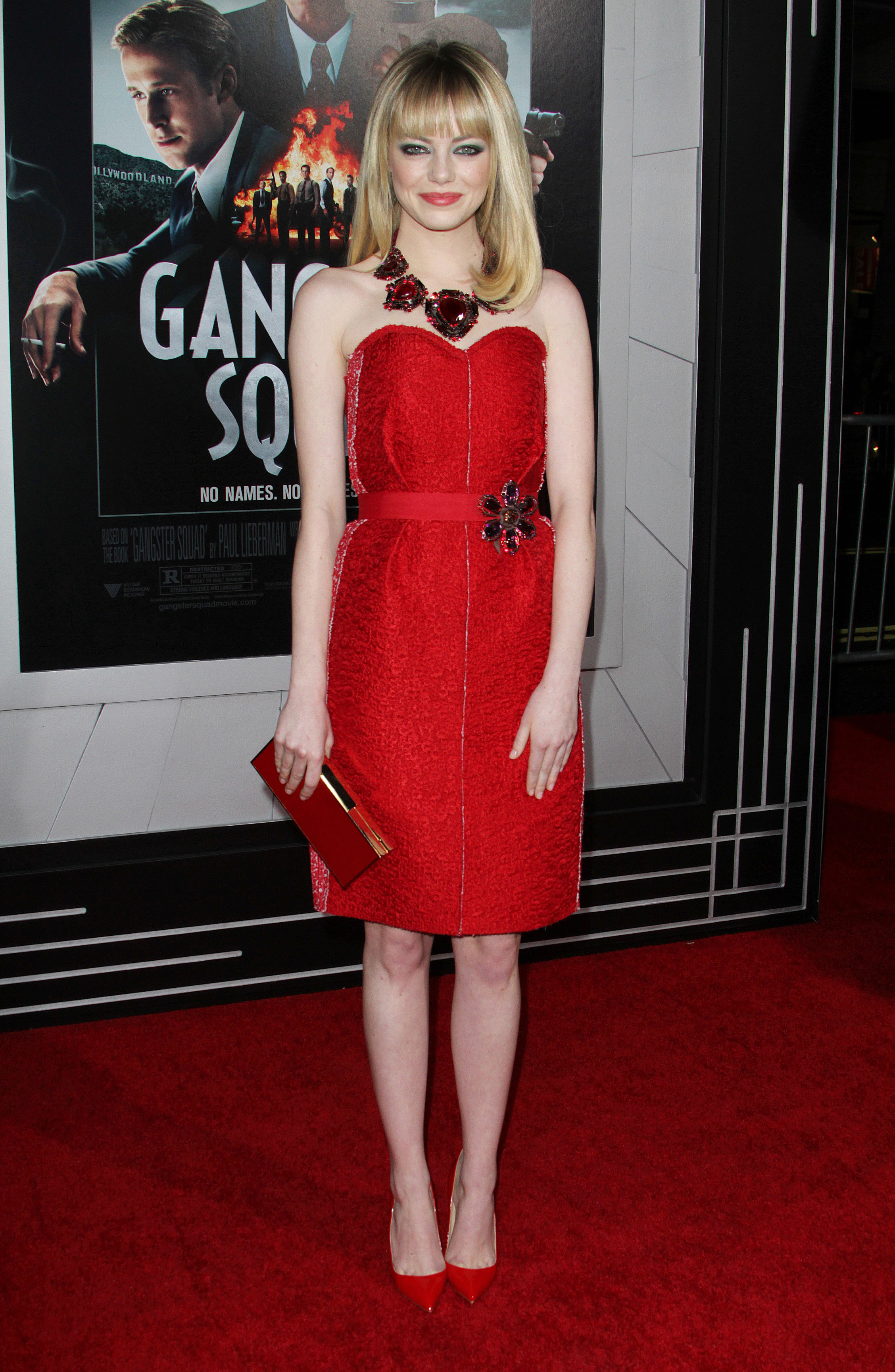 Emma Stone, Gangster Squad, Smoky Eyes, Red Lanvin Dress, Red Carpet