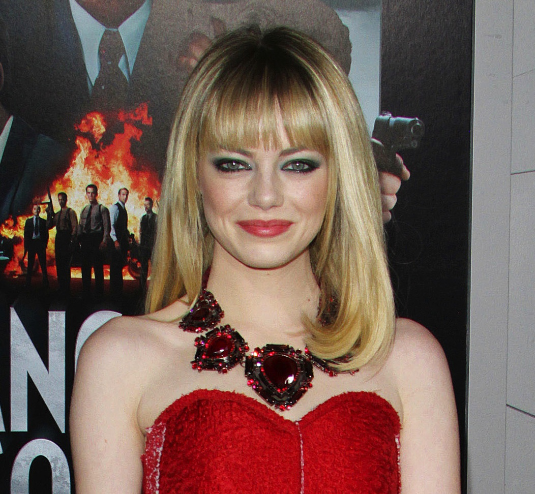 Emma Stone, Red Lanvin Dress, Blonde Hair, Smoky Eyes, Gangster Squad