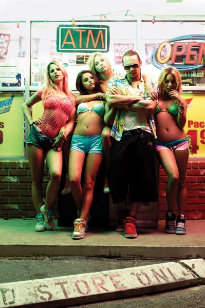 Spring Breakers' gangster mystic, James Franco, flanked by co-stars Rachel Korine, Selena Gomez, Ashley Benson and Vanessa Hudgens; Photo by Michael Muller