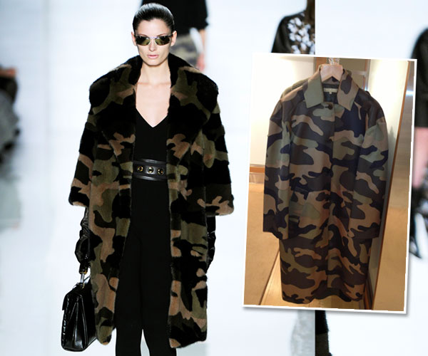 Here is his fur camo coat (Look 34) and a translation piece that will go to most stores.
