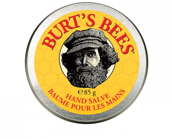 His logoed doppelgänger on a tin of Burt's Bees Hand Salve