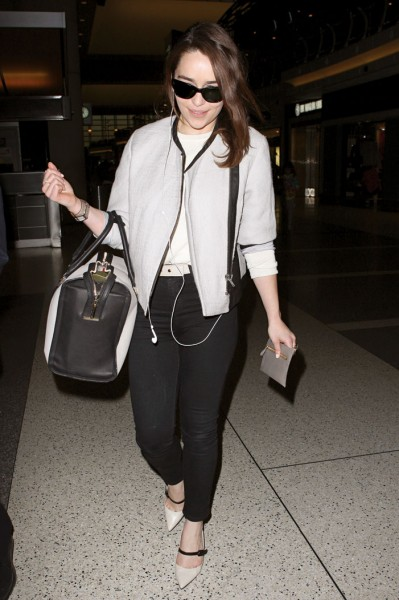 Travelling in style in a Helmut Lang jacket at LAX; Photo by Splash News