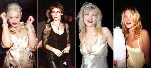From left: Gwen Stefani, 1997; Winona Ryder, 1999; Courtney Love, 1999; Kate Moss, 1990. Photos Courtesy of Getty Images