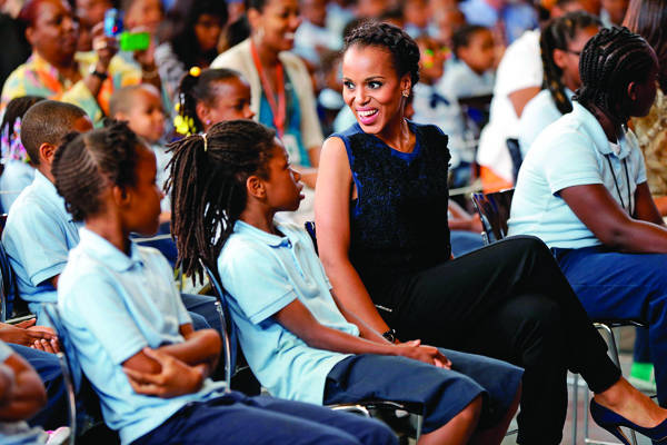 The actress, a member of the President's Committee on the Arts and the Humanities, visited the Savoy School in D.C. with Michelle Obama to support the Turnaround Arts Initiative