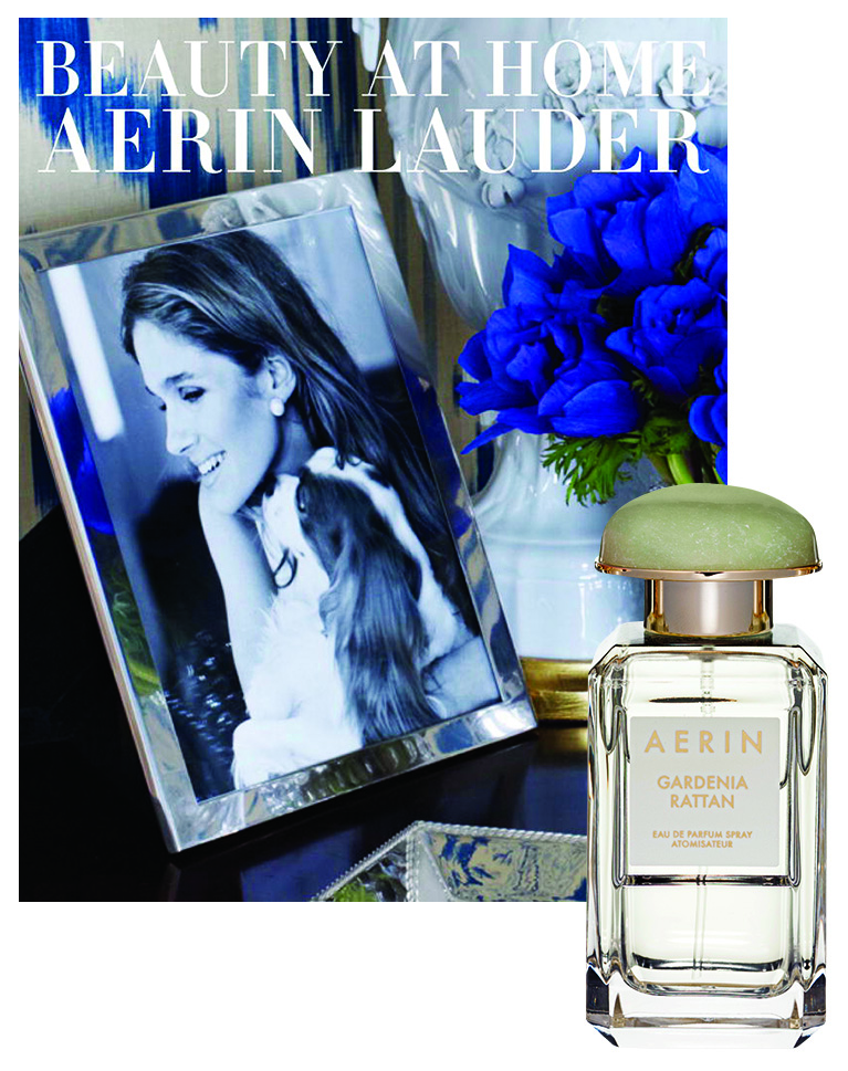 Her New Book:Beauty at Home (Potter Style, $68). Inset: Aerin Fragrance Collection Gardenia Rattan Eau de Parfum Spray, $125. Photo by Ivan Engler.