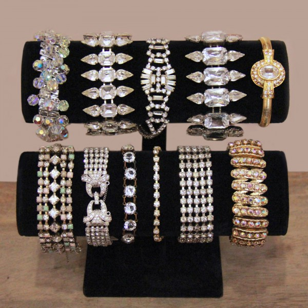 Rhinestone and crystal bracelets from the 1920s to the 1980s; image courtesy of Magwood