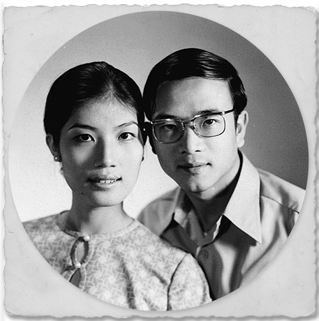 "Above: ""My parents' official wedding portrait, taken on April 1, 1971, after they were married at city hall in Tsim Sha Tsui in Hong Kong. Ma wore 'a little' makeup because 'it was a special occasion.'"" Left: ""Me at six months. Many Chinese babies are given a jade bracelet to wear. When it breaks, the jade pieces are often turned into pendants for necklaces"""