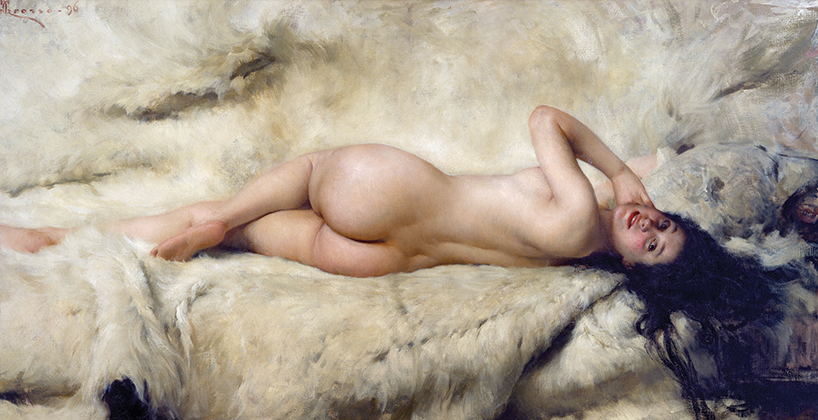 Nude, 1897, by Giacomo Grosso (1860-1938), 101x203 cm. (Photo by DeAgostini/Getty Images); Turin, Galleria Civica D'Arte Moderna E Contemporanea (Art Gallery). (Photo by DeAgostini/Getty Images)