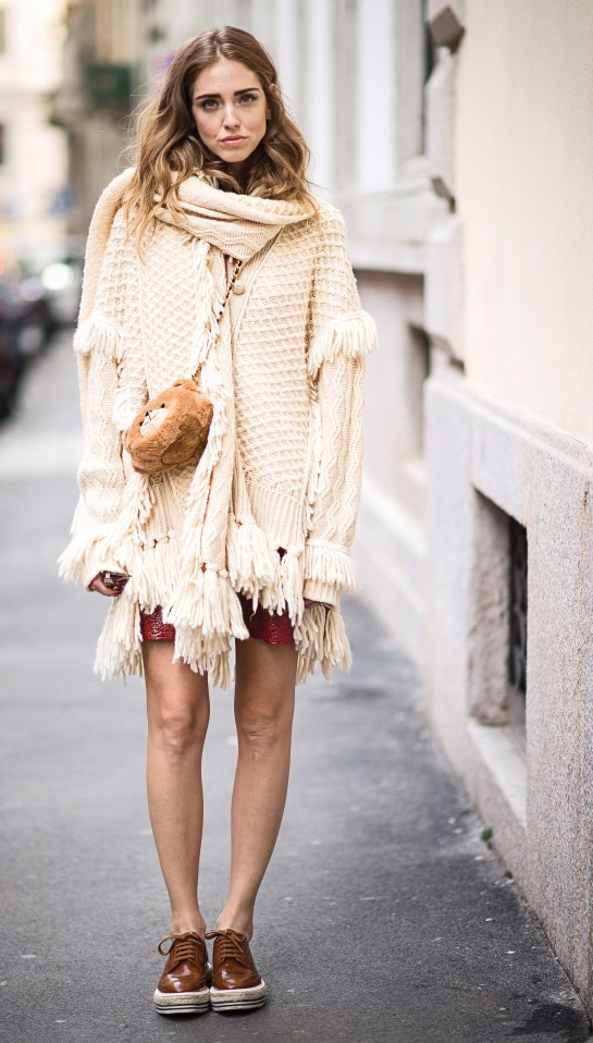 Casual cool in an oversized Philosophy poncho.