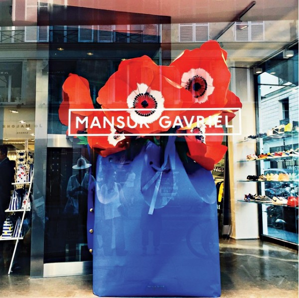 Window Shopping: The display at Colette featured an oversized paper replica of the boutique's limited-edition bucket bag by Mansur Gavriel