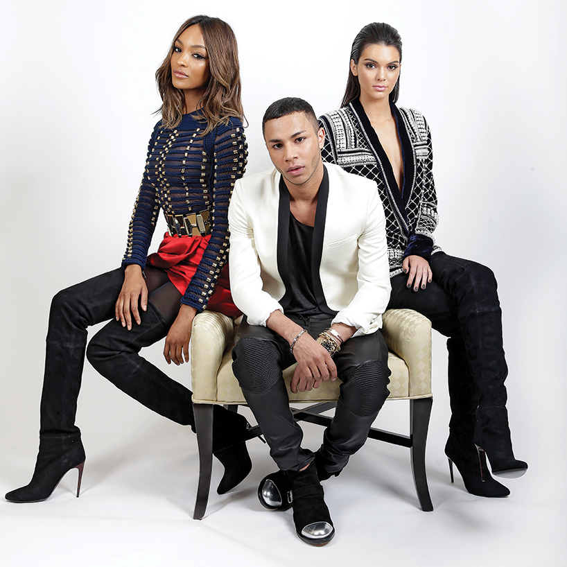Olivier Rousteing with Jourdan Dunn and Kendall Jenner in Balmain for H&M
