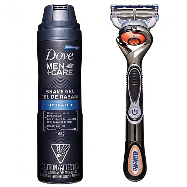 Dove Men+Care Hydrate+Shave gel, $6, and Gilette Fusion ProGlide Power Razor with Flexball Technology, $20, at mass market retailers (Photo: Ivan Engler)
