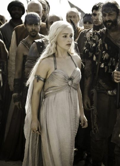 <p><strong>Who:</strong> Daenerys Targaryen</p> <p></p> <p><strong>When:</strong> Season 1</p> <p></p> <p><strong>What: </strong>Grecian-inspired silhouette complete with arm cuff.</p> <p></p> <p><strong>Rating: </strong>2.5/5 dragons. Pretty, but too dainty for dragon wrangling.</p> <p></p>