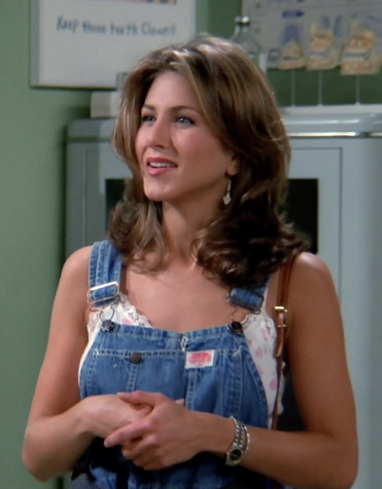"""<p><strong>Who: </strong>Rachel Green</p> <p></p> <p></p> <p></p> <p></p> <p></p> <p><strong>When: </strong>Season 1, ep. 2—""""The One with the Sonogram at the End""""</p> <p></p> <p></p> <p></p> <p></p> <p></p> <p><strong>What: </strong>Oversized denim overalls</p> <p></p> <p></p> <p></p> <p></p> <p></p> <p><strong>How to wear in 2016: </strong>The one strap on, one strap off look, with a cropped tee.</p> <p></p> <p></p> <p></p> <p></p> <p></p>"""