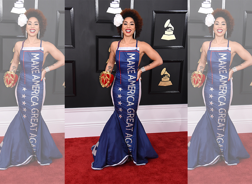 Singer Joy Villa makes a political statement in a Make America Great Again dress at the GRAMMY Awards