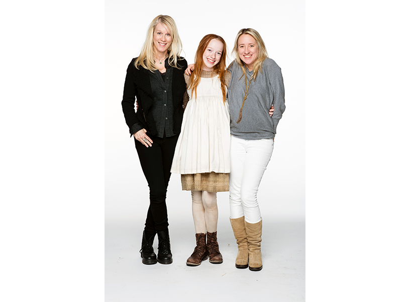Anne remake feminist: Moira Walley-Beckett standing with Amybeth McNulty (Anne) and producer Miranda de Pencier (Photo courtesy of CBC)