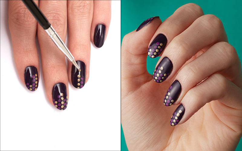 Easy how-to nail art polka dots
