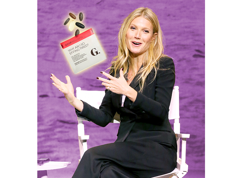 Gwyneth Paltrow supplements: Gwyneth Paltrow sits with her Why Am I So Effing Tired Supplement.
