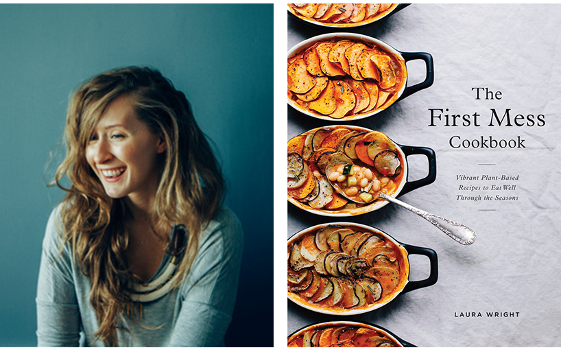 Laura Wright Recipes: A portrait of Laura Wright next to an image of the cover of her new cookbook.
