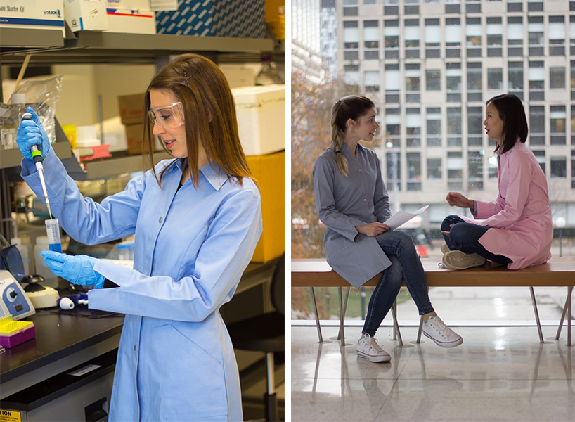 Stylish lab coats: Modadoro designs, showing the pink and blue lab coats for women