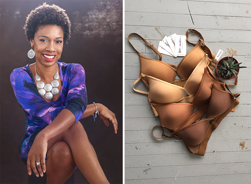 Love & Nudes: Chantal Carter Taylor smiles beside four of her bras.