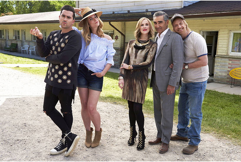 Dan Levy on Pansexuality: The cast of TV show 'Schitt's Creek' outside of the on-set motel; Inline image