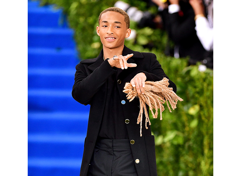 Jaden Smith holding a lock of his hair at the 2017 Met Gala