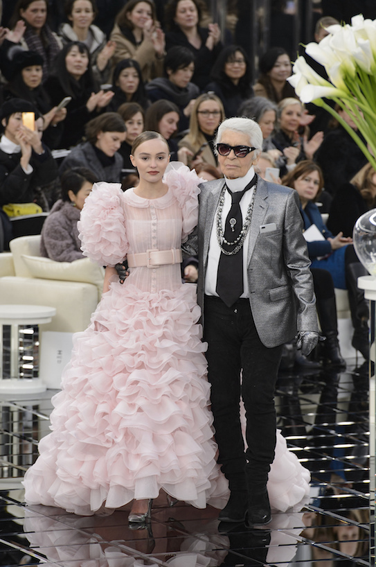 A photo of Lily-Rose Depp and Karl Lagerfeld at Chanel Couture spring '17