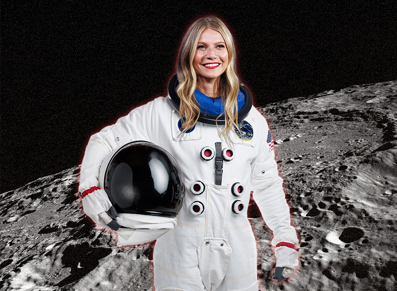 Goop is in trouble with NASA: Photo of Gwyneth Paltrow in a space suit with a background of the moon