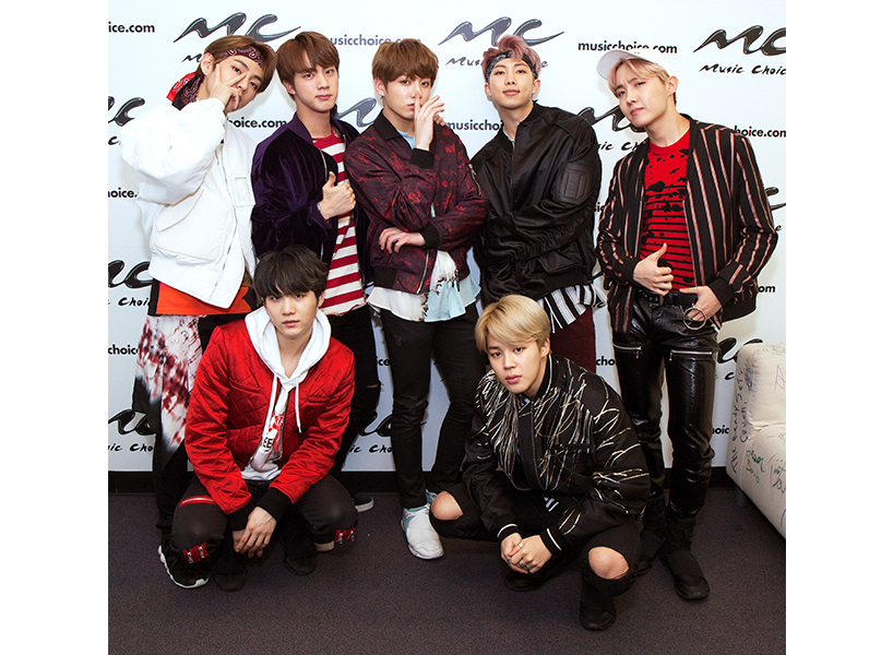 "Selena Gomez Cover: K-pop group BTS recently released a cover of Selena Gomez's song ""We Don't Talk Anymore"". Here, they pose together at an event for Music Choice; inline image."