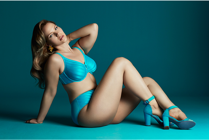 Elly Mayday wearing turquoise lingerie is the face of ADDITION ELLE's partnership with Ovarian Cancer Canada; inline image.