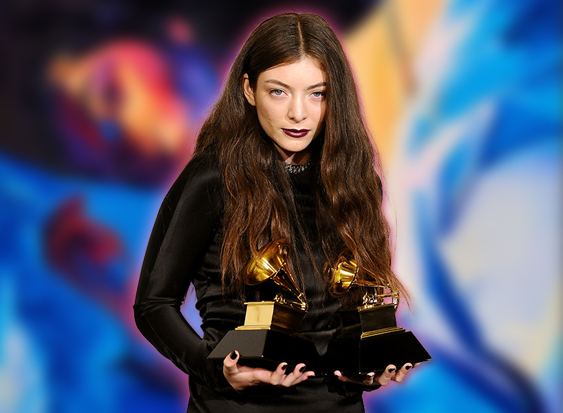 Pictured here during a Grammys with her dual statues, thespian Lorde's new manuscript Melodrama is out Jun 16; inline image.