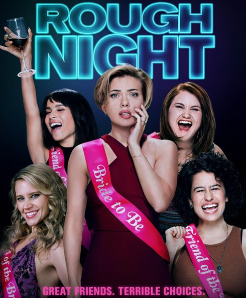 Rough Night review: A poster for the film featuring Scarlett Johansson wearing a pink sash that says Bride to Be.