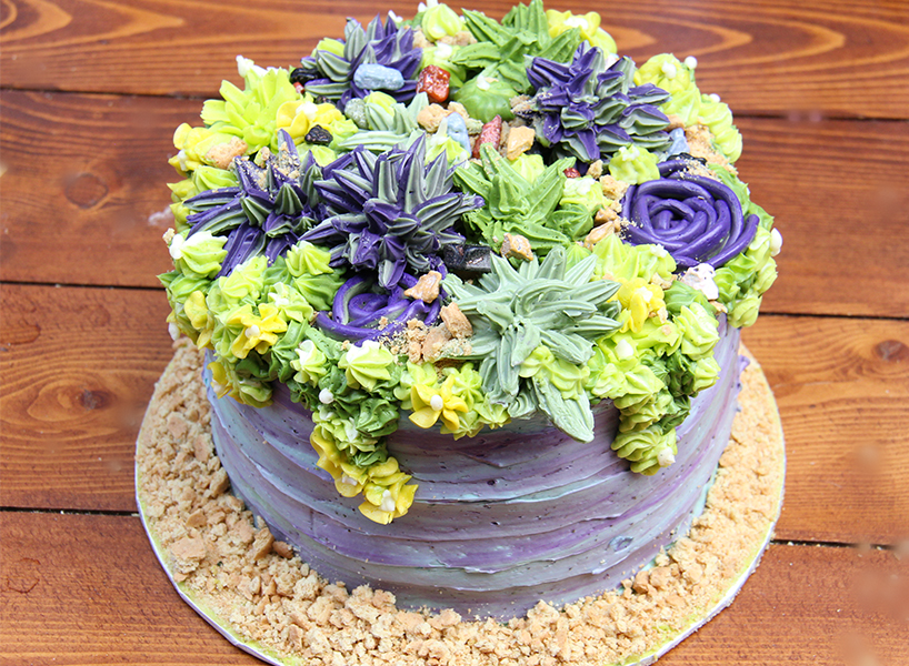 A succulent cake with desert plants on top made of icing.