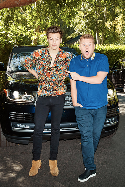 """Harry Styles performs in a Carpool Karaoke with James Corden during """"The Late Late Show with James Corden,"""""""