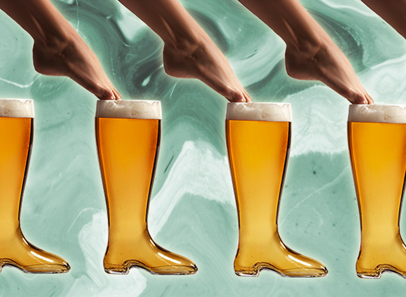 A collage of a feet going into a boot-shaped pint of beer