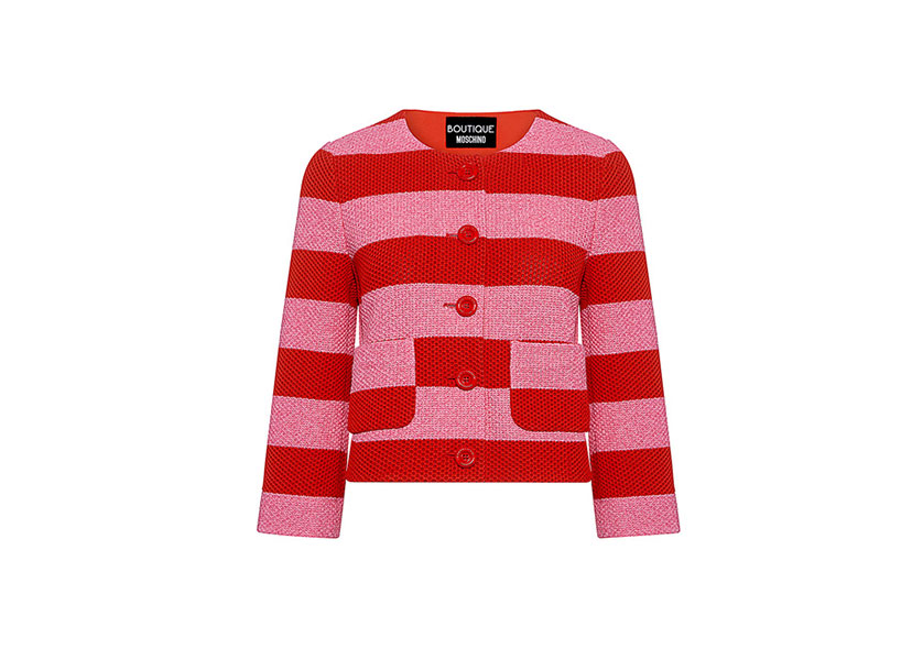 This striped Moschino blazer is an easy update for Jerry's hideous candy-lined suede jacket