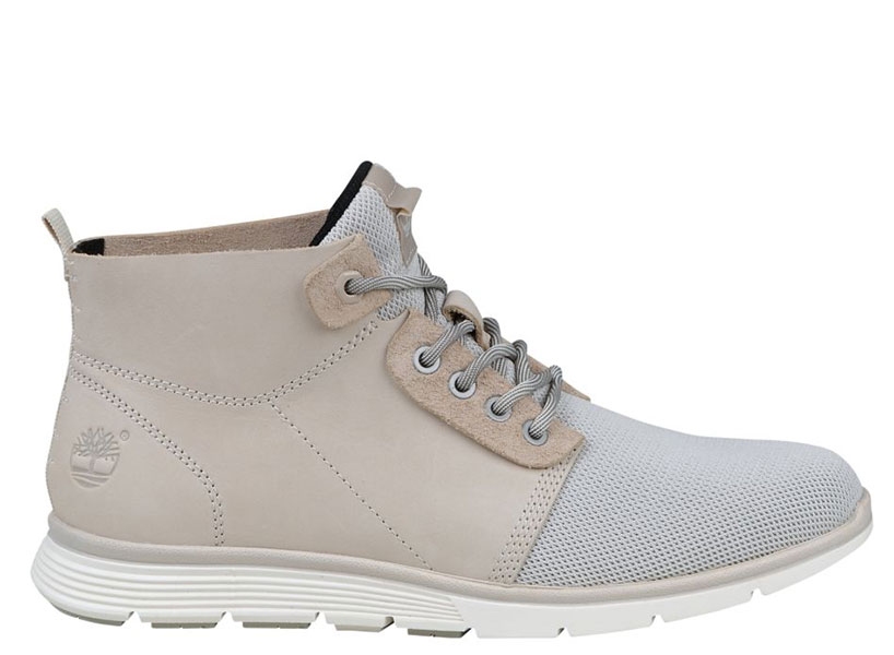 These grey and sand coloured Timberland boots are a modern nod to George Costanza's dedication to the lift-offering possibilities of the original Timberland boots