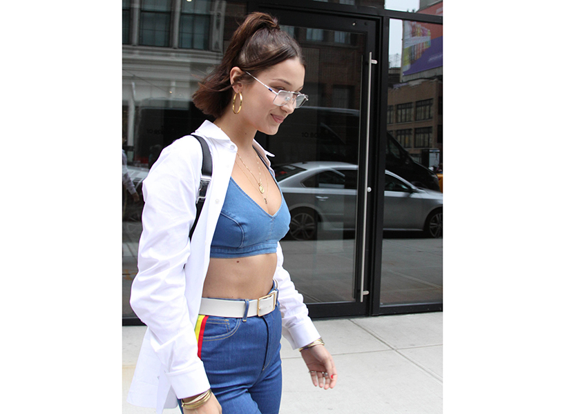 Bella Hadid wears the bras as tops trend