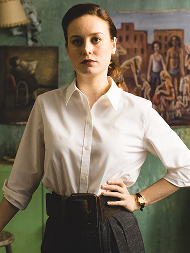 Brie Larson, seen here in a white button-down shirt, stars as Jeanette Walls in the upcoming Glass Castle film.