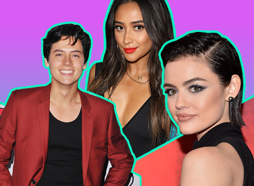 Actors Lucy Hale, Cole Sprouse and Shay Mitchell on a purple background; Inline image.