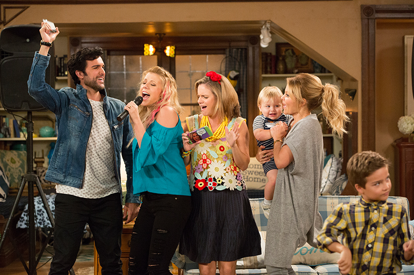 Fuller House cast members in a scene from the TV show Fuller House which has new episodes coming to Netflix in September