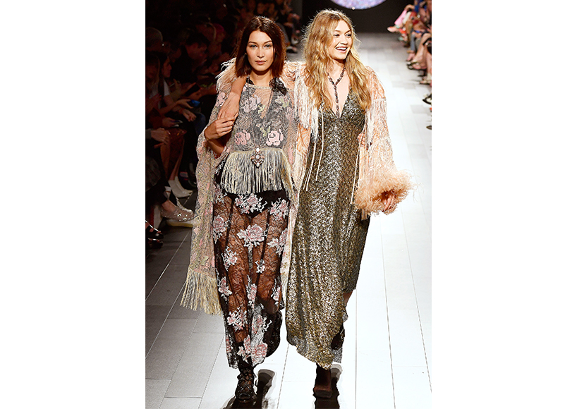 hadid sisters walk anna sui at nyfw