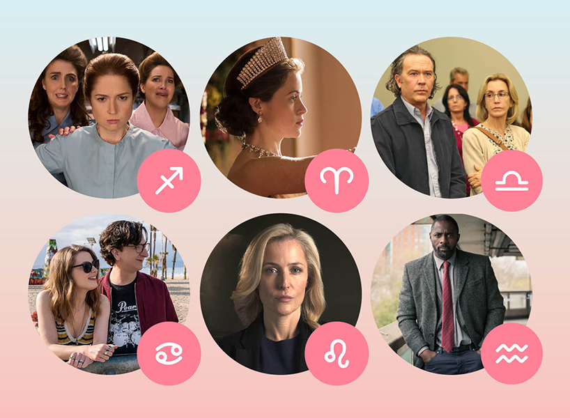 What to watch on Netflix, according to your zodiac sign: Here, six circles with images from hit shows on Netflix next to Zodiac signs
