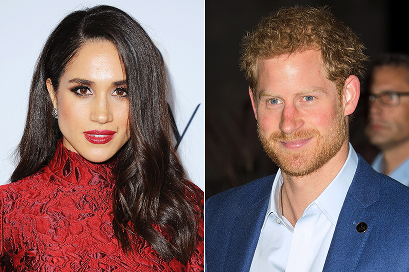 A split screen image of Meghan Markle and Prince Harry, who are currently dating, Meghan is wearing a red high-neck dress with her hair down and Prince Harry is wearing a navy suit jacket