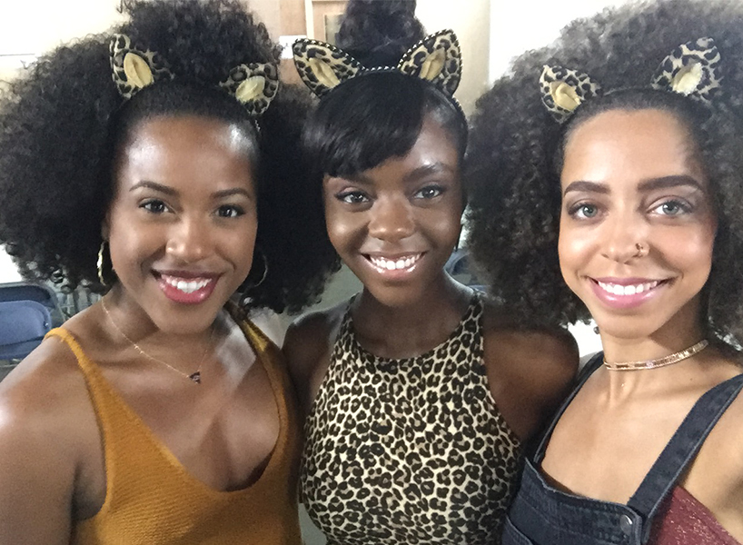 Asha Bromfield, Hayley Law and Ashleigh Murray posing with cat ears on