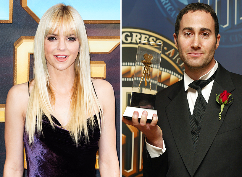 Actor Anna Faris posing with long blonde hair next to cinematographer Michael Barrett holding an award