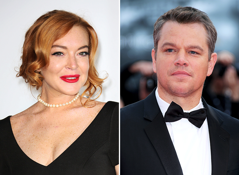 Lindsay Lohan in a black dress and Matt Damon in a black tux